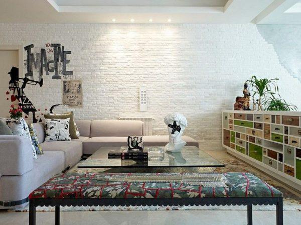 Dekoratif Beyaz Tuğla Duvar Kaplama Görseli