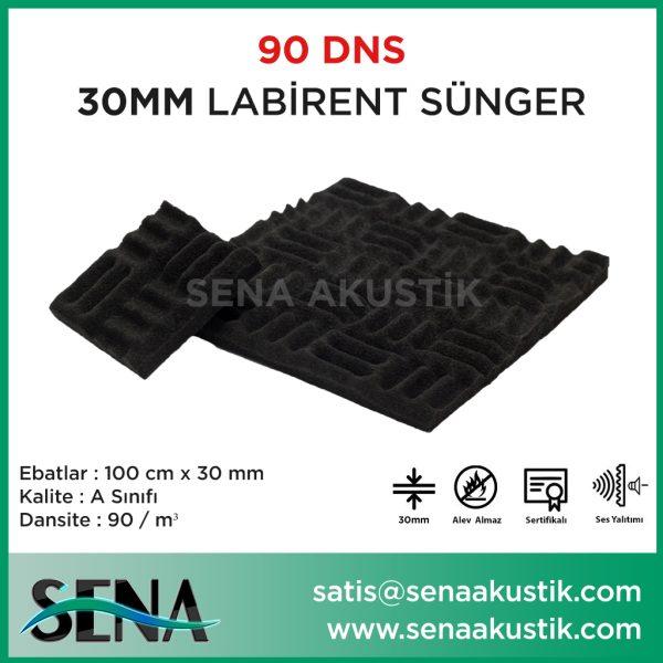 30 mm Yanmaz Akustik Labirent Sünger 90 Dansite m2 Fiyatları