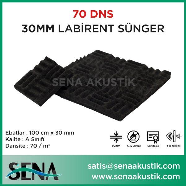 30 mm Yanmaz Akustik Labirent Sünger 70 Dansite m2 Fiyatları