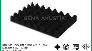 40 mm Akustik Yanmaz Piramit Sünger 50 / 60 Dansite Yoğunluk