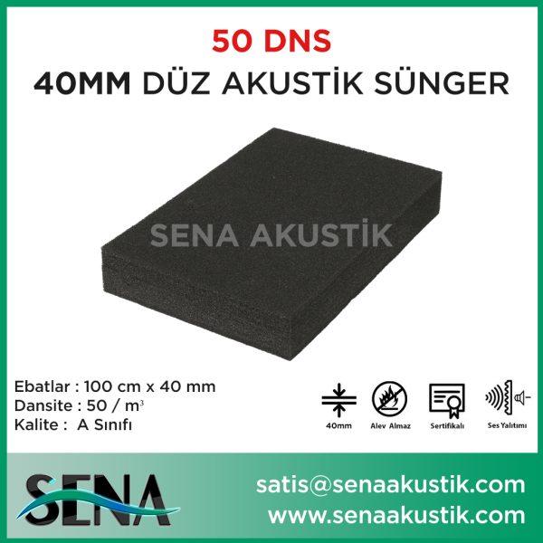 40 mm Düz Akustik Yanmaz Sünger 50 dansite m2 Fiyatları