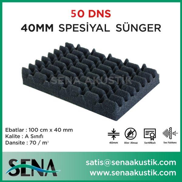40mm Akustik Yanmaz Sipesiyal Sünger 50 Dansite