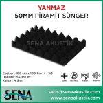 50 mm Akustik Yanmaz Piramit Sünger