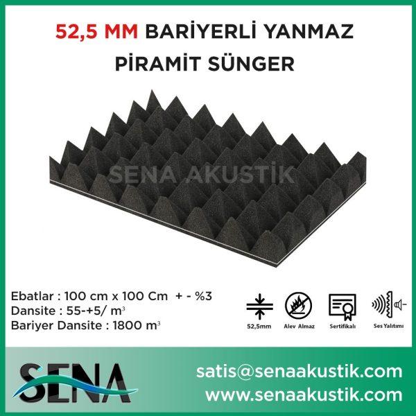 53mm Bariyerli Akustik Yanmaz Piramit Sünger