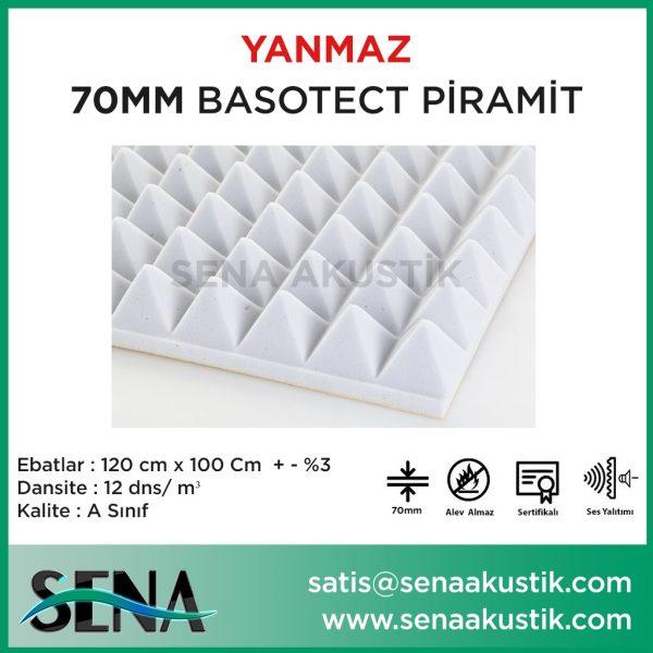 70mm Akustik Basotect Piramit Yanmaz Sünger