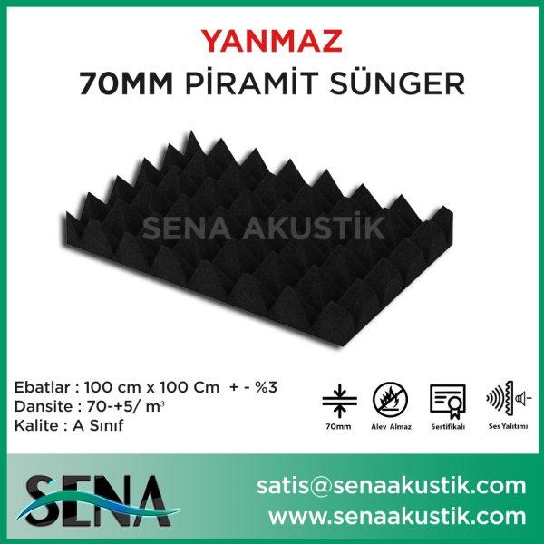 70mm Akustik Yanmaz Piramit Sünger 70 Dansite