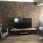 Tv Ünitesi Arkası Tuğla Duvar Kaplama Modeli