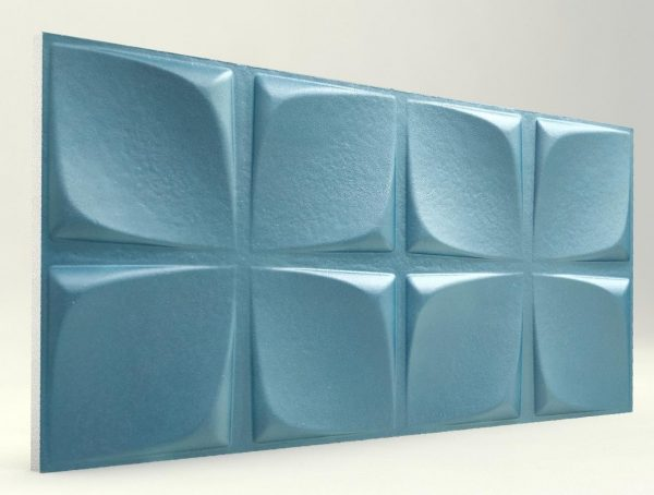 Çiçek Desenli Turkuaz Rengi 3D Strafor Duvar Panelleri