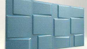 3d strafor duvar panelleri kare turkuaz