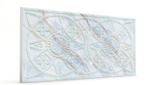 Osmanlı Güneş Desen Oymalı Strafor Duvar Paneli Gri Efek Modeli