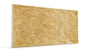 Osmanlı Güneş Desen Oymalı Strafor Duvar Paneli Hardal Modeli