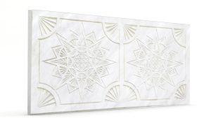Osmanlı Yıldız Desen Oymalı Strafor Duvar Paneli İnci Beyazı Modeli