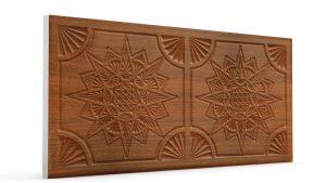 Osmanlı Yıldız Desen Oymalı Strafor Duvar Paneli Koyu Kahve Modeli