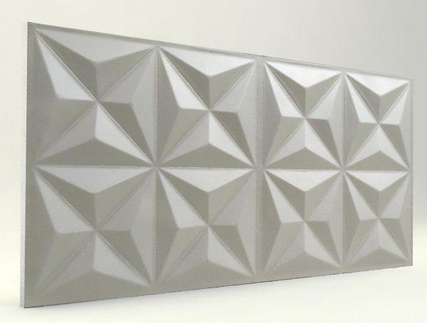 Piramit Desenli 3D Strafor Duvar Panelleri İnci Beyaz Modeli