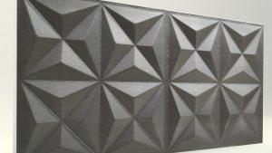 Piramit Desenli 3D Strafor Duvar Panelleri Antrasit Modeli