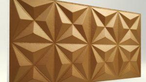 Piramit Desenli 3D Strafor Duvar Panelleri Bakır Modeli