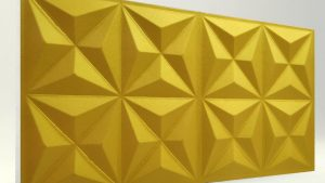 Piramit Desenli 3D Strafor Duvar Panelleri Gold Modeli