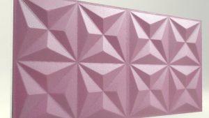 Piramit Desenli 3D Strafor Duvar Panelleri Lila Modeli