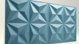 Piramit Desenli 3D Strafor Duvar Panelleri Turkuaz Modeli